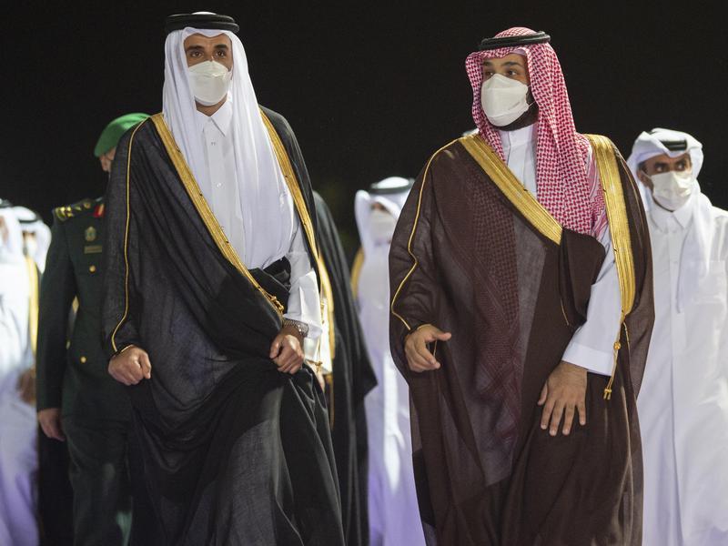 Mohammed bin Salman looks out