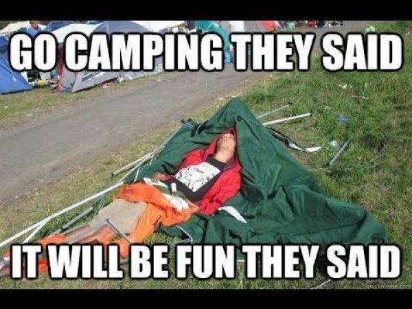 Hilarious tent fail meme