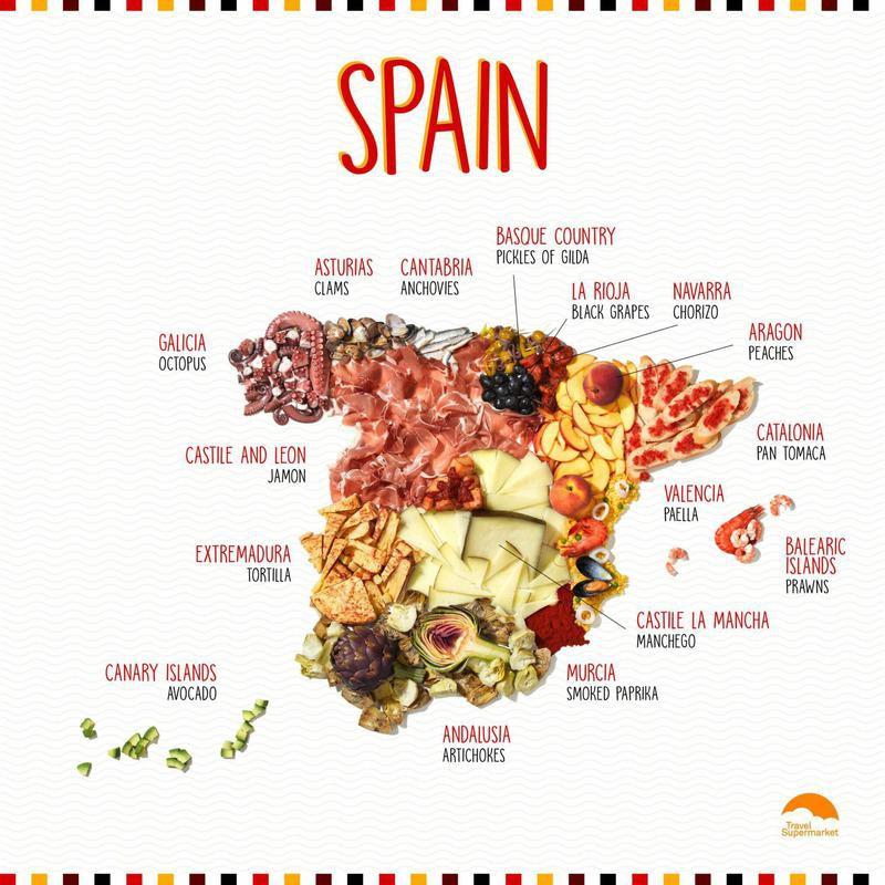 Food map of Spain