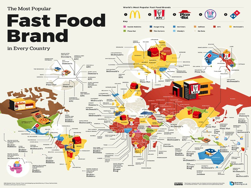 Map of the most popular global fast food brands