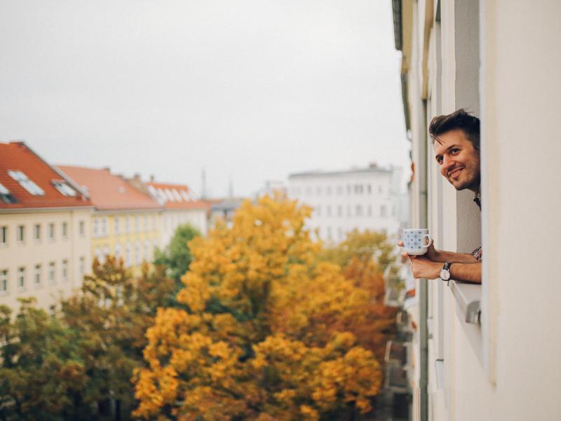Man enjoying coffee in Germany