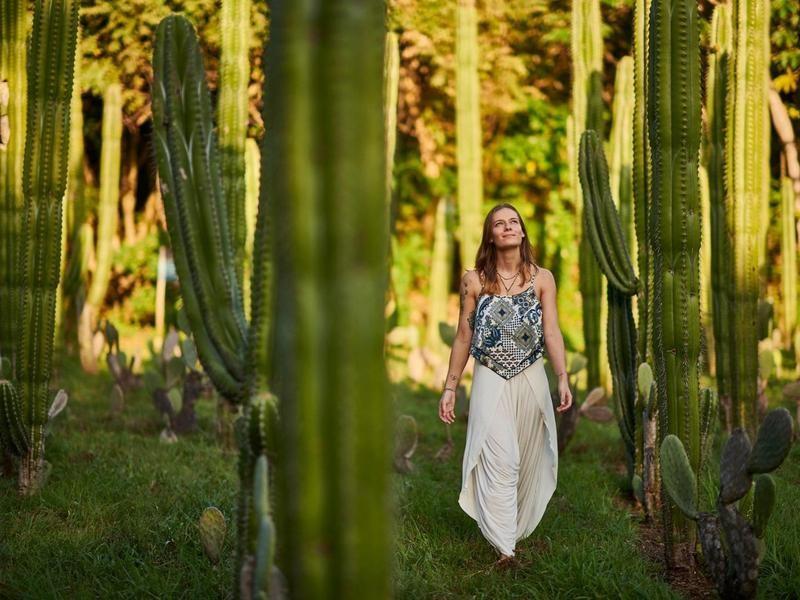 Woman walks on luxury eco-resort property in Costa Rica
