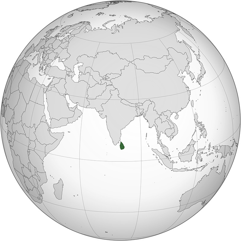 Ceylon on a map