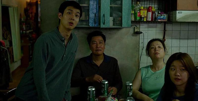 Kang-ho Song, Jang Hye-Jin, Choi Woo-sik, and Park So-dam in Parasite