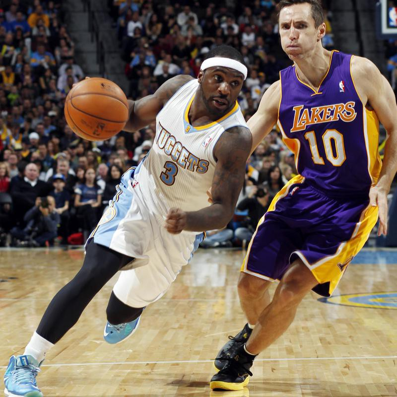 Ty Lawson of the Denver Nuggets drives against Lakers