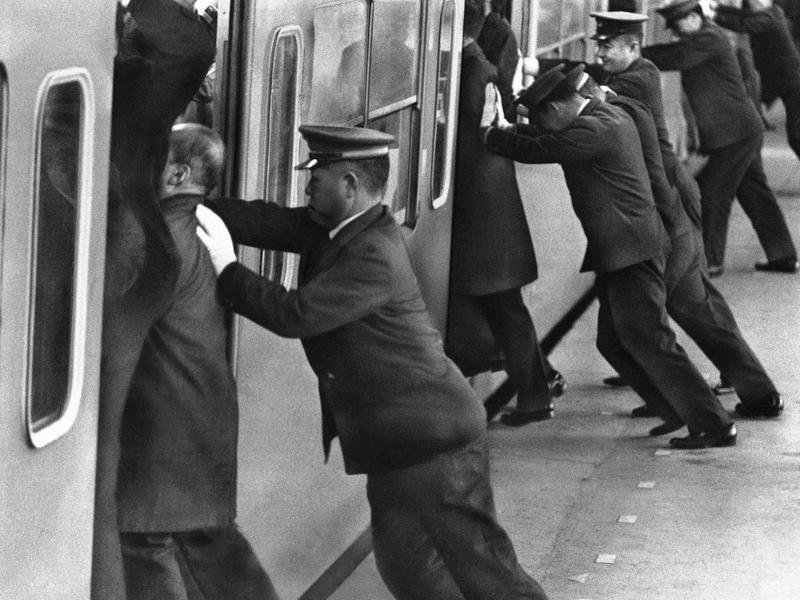 Subway passenger pushers