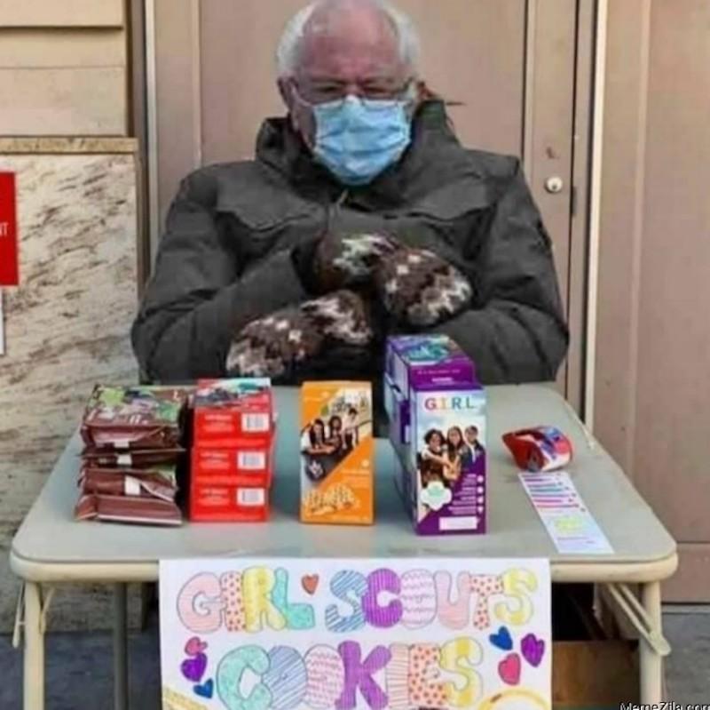 Bernie Sanders selling Girl Scout cookies