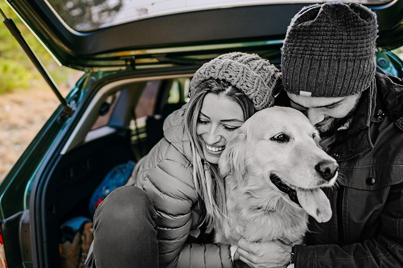 Couple and their dog sitting the trunk of a car