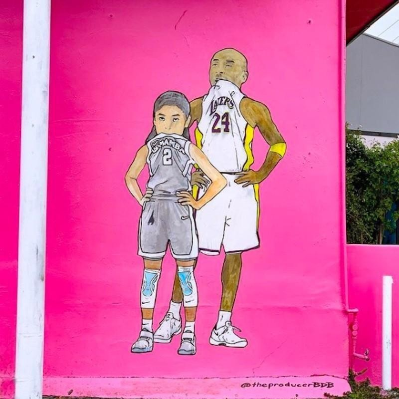 Kobe Bryant and Gianna Bryant mural in Los Angeles