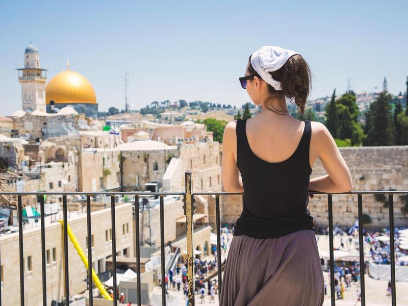 Woman in balcony in Israel