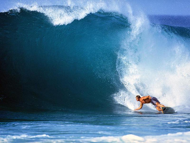 Laird Hamilton surfing in Haleiwa