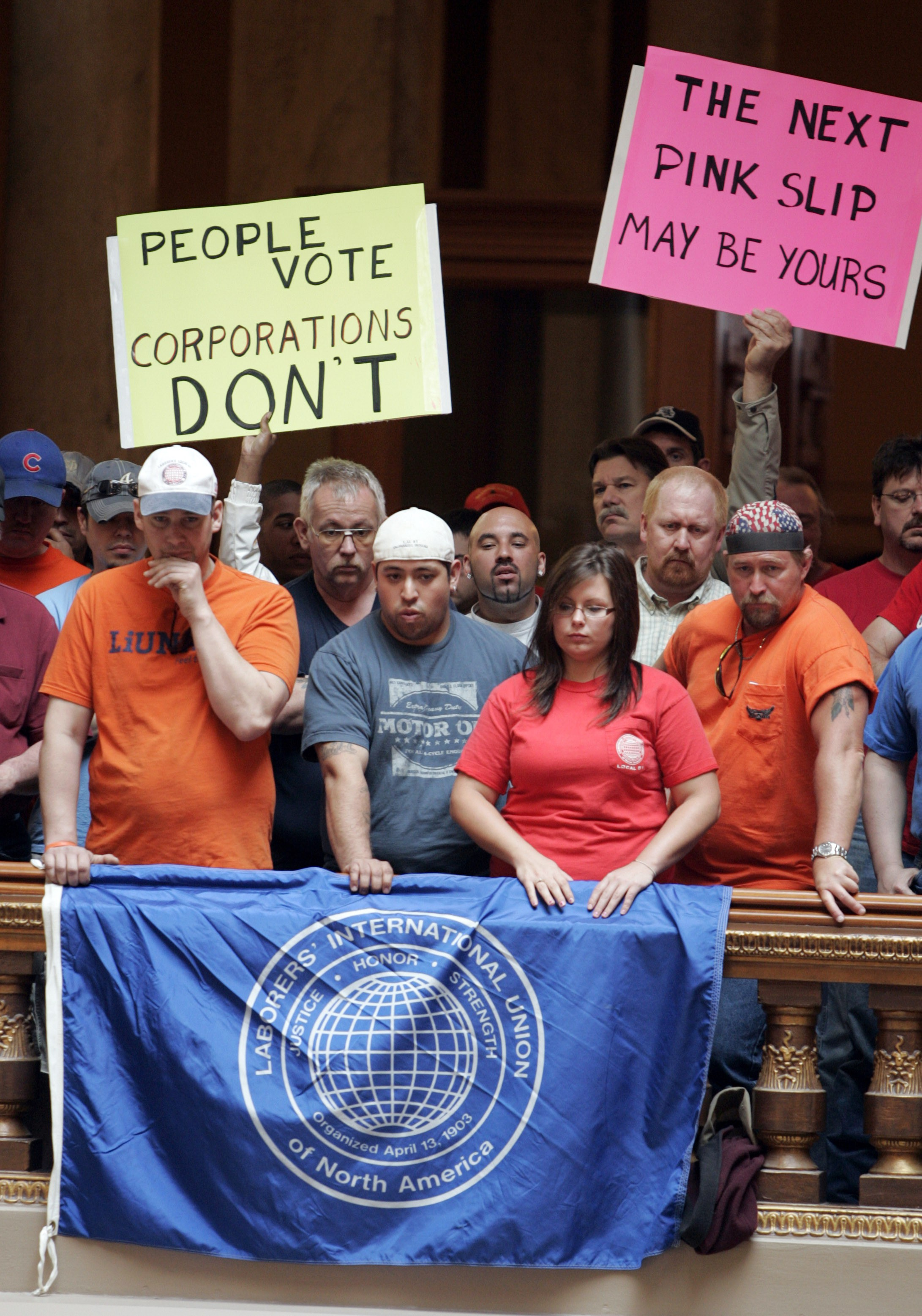 Union workers in Indianapolis, Indiana