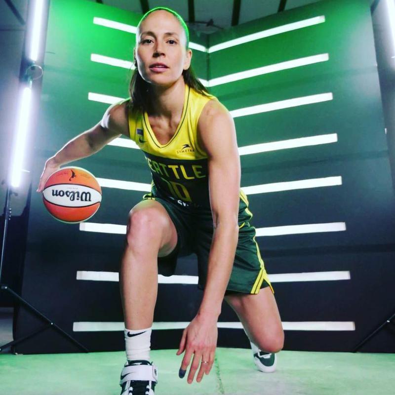 Sue Bird with basketball
