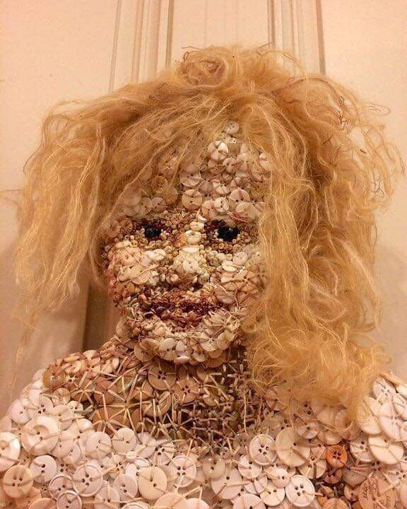 Doll made from buttons