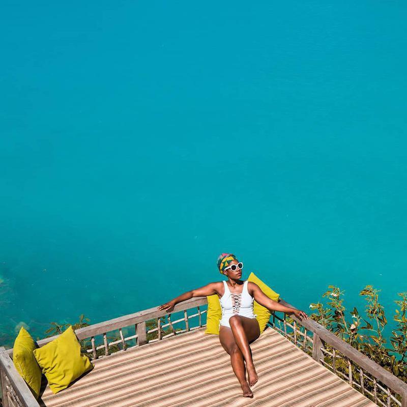 Oneika Raymond near the sea