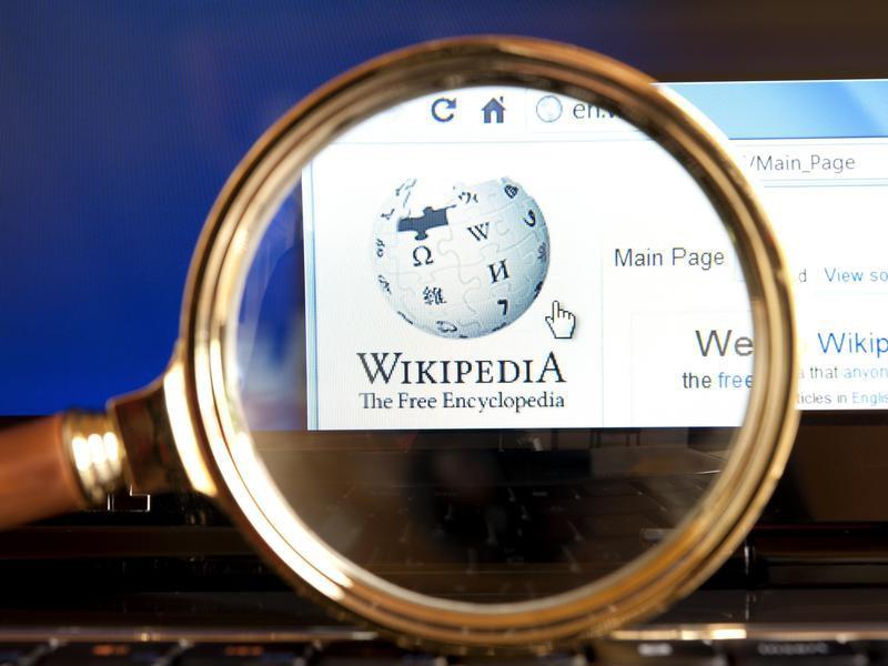 Wikipedia logo through a magnifying glass