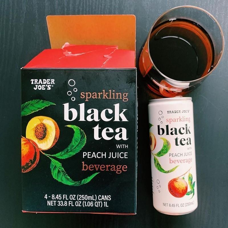 Sparkling Black Tea With Peach Juice Beverage