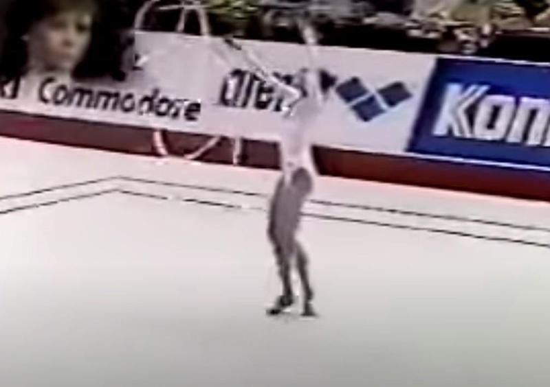 Anna Kotchneva competes in 1987 Worlds Ribbon competition