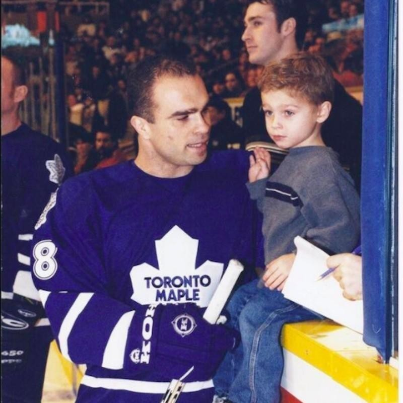 Max Domi with father Tie Domi of the Toronto Maple Leafs on the ice