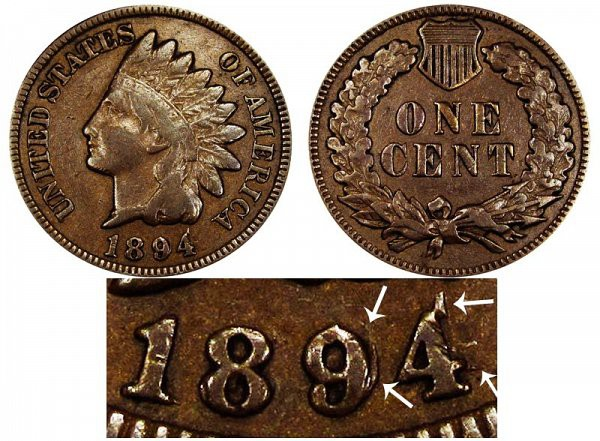 1894 Indian Head Cent (Double Date)