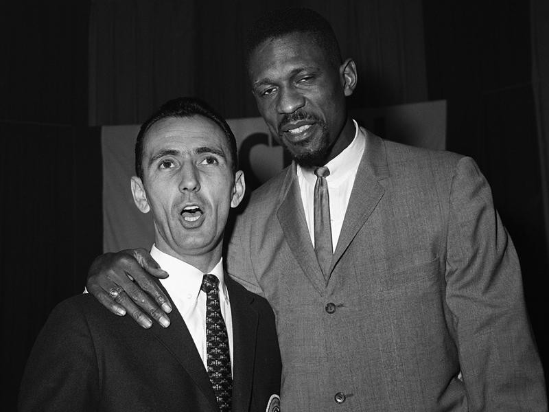 Bob Cousy and Bill Russell sing duet