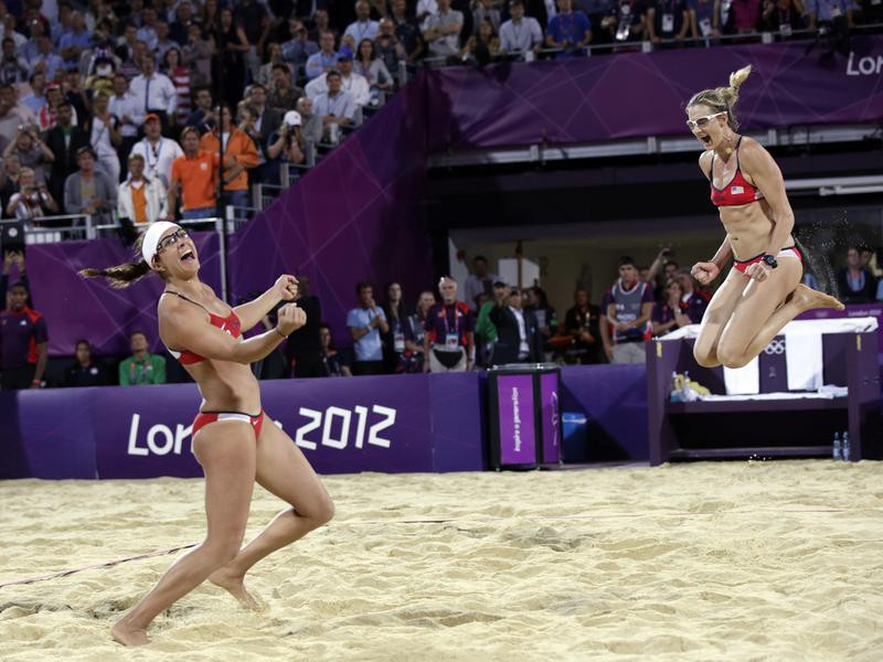 Miss May Treanor and Kerri Walsh Jennings celebrate win in Summer Olympics