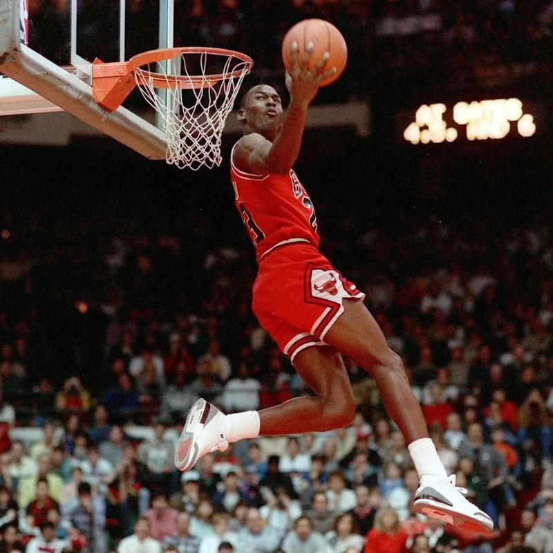 Chicago Bulls' Michael Jordan dunks