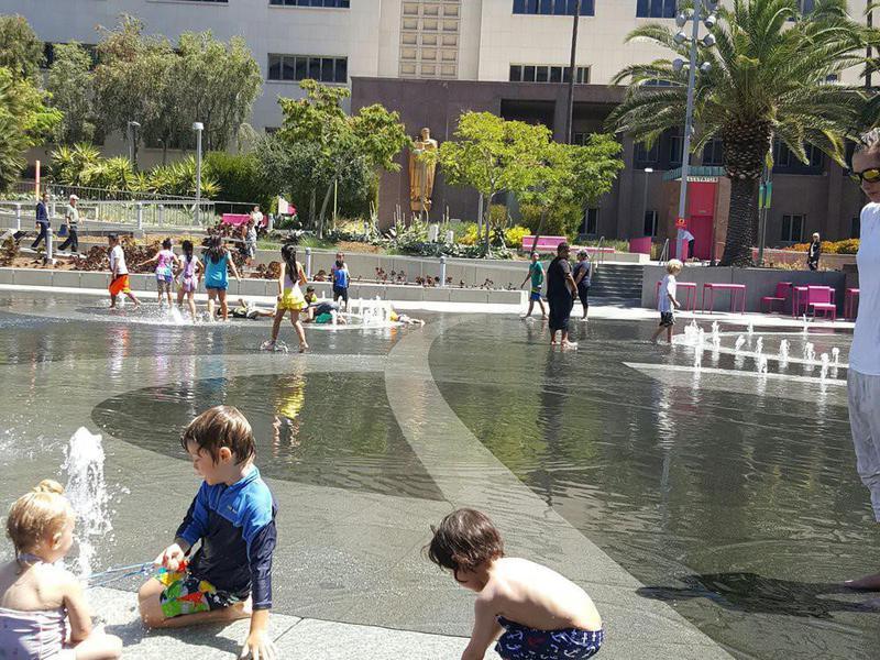 Grand Park splash pad in LA