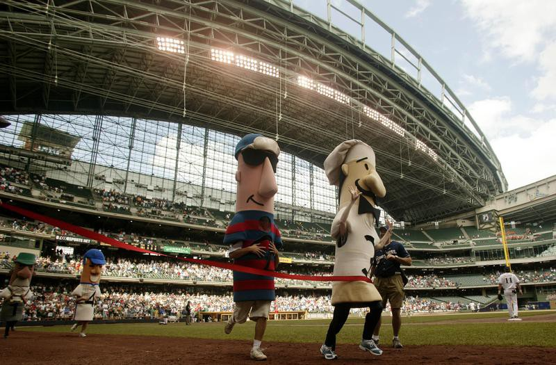 Sausage race at Milwaukee Brewers game