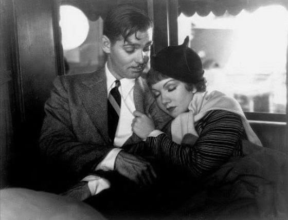 Claudette Colbert sleeping on top of Clark Gable in It Happened One Night