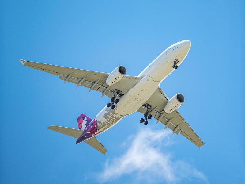Hawaiian Airlines aircraft in the air