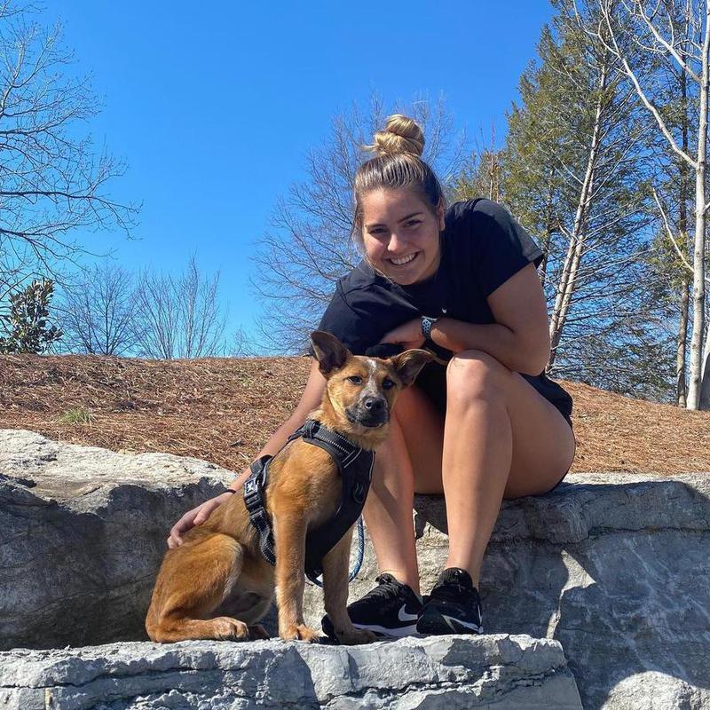 Sarah Fuller with her dog