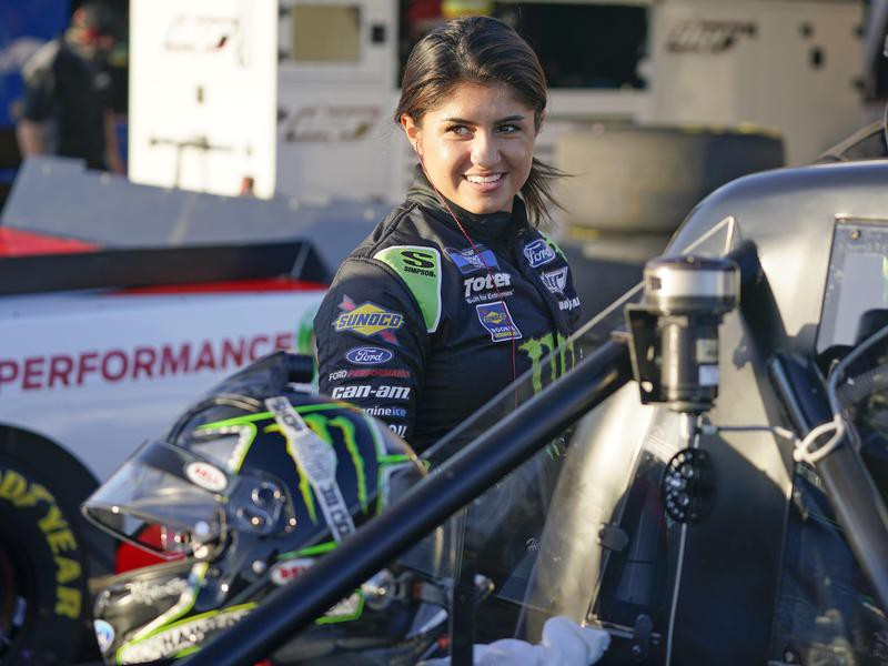 Hailie Deegan gets ready to go out during practice