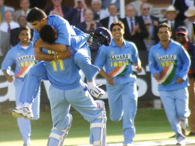 India captain Sourav Ganguly jumps on top of Mohammad Kaif