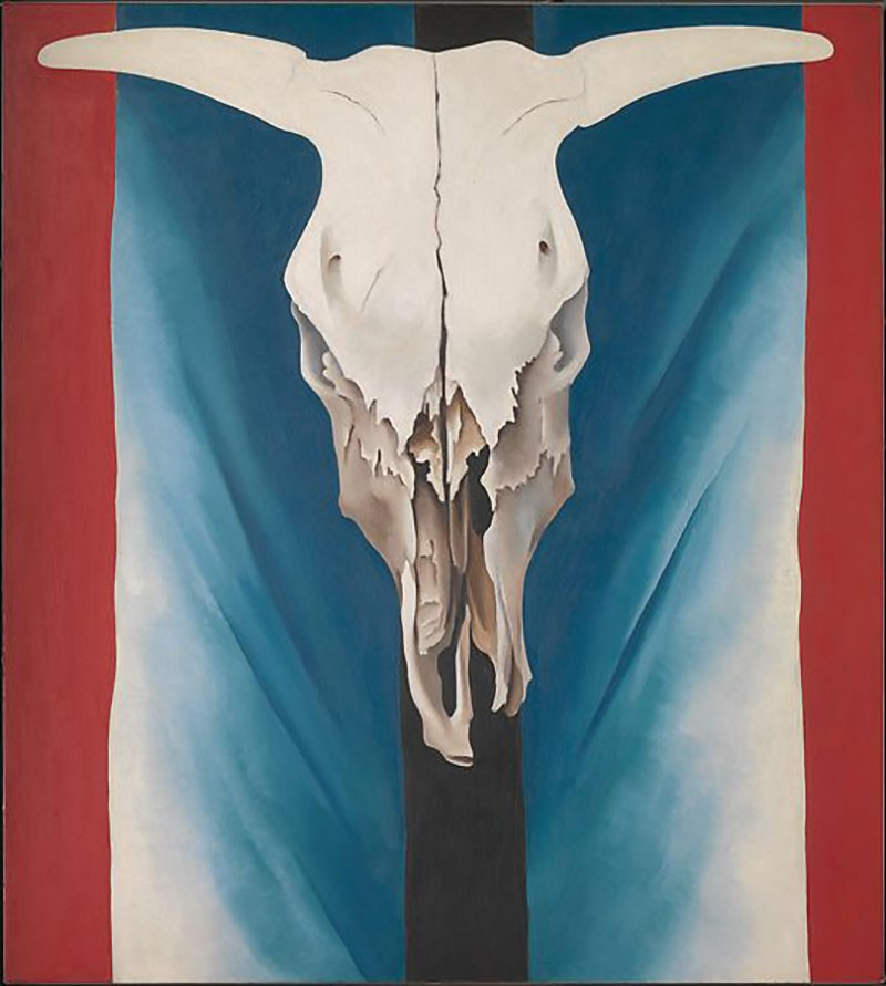 Cow's Skull Red White and Blue