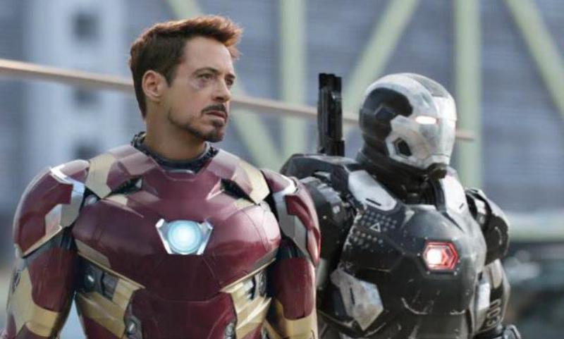 Don Cheadle and Robert Downey Jr. in Captain America: Civil War