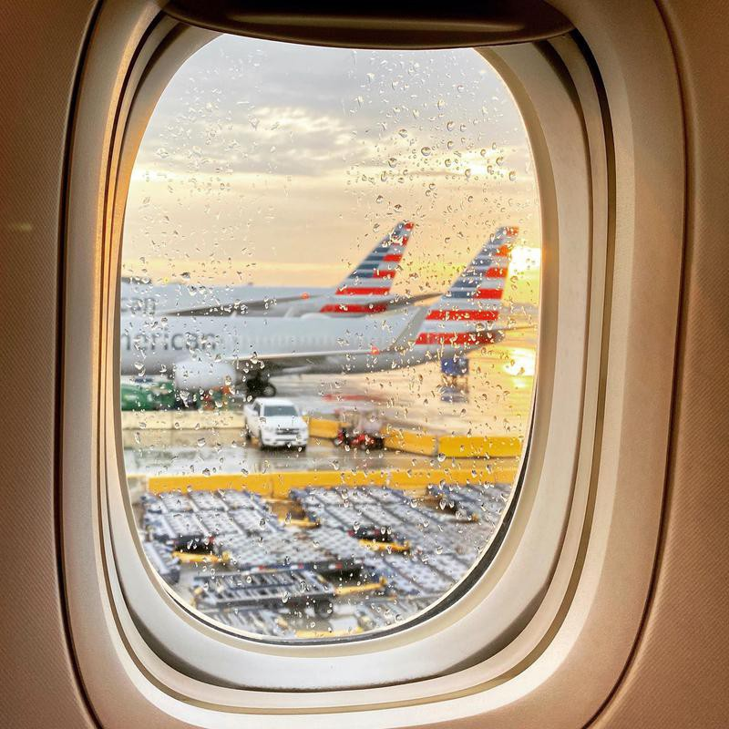 View of American Airlines aircraft from window