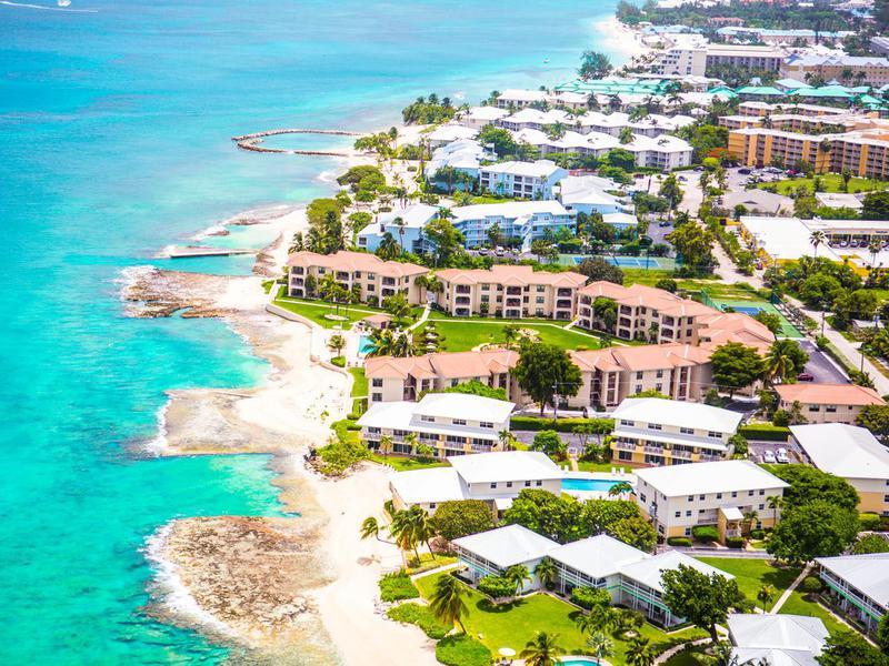 Aerial view of coastline of Grand Cayman, Cayman Islands