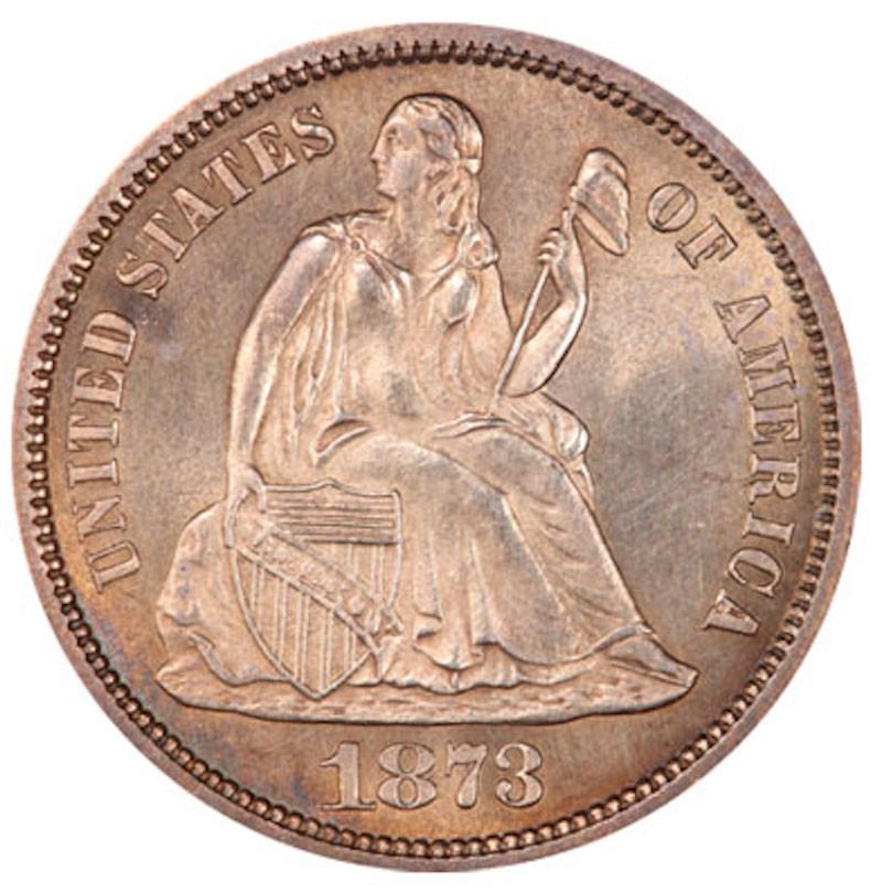 1873 CC No Arrows Seated Liberty Dime