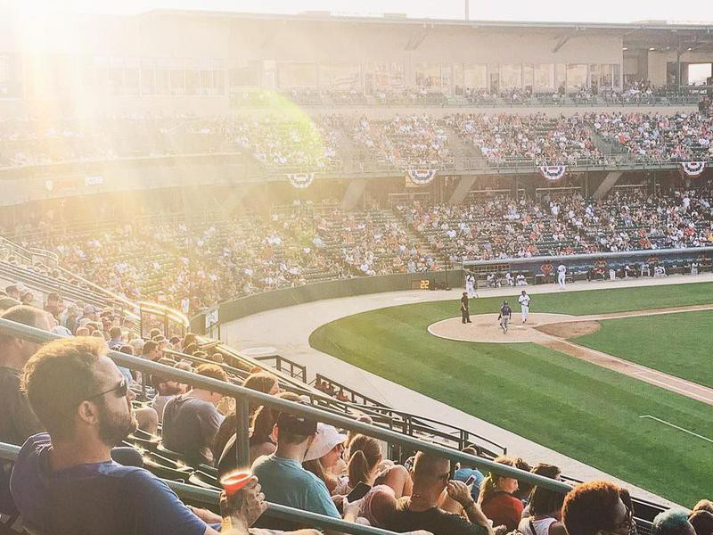 Victory Field with sun shining