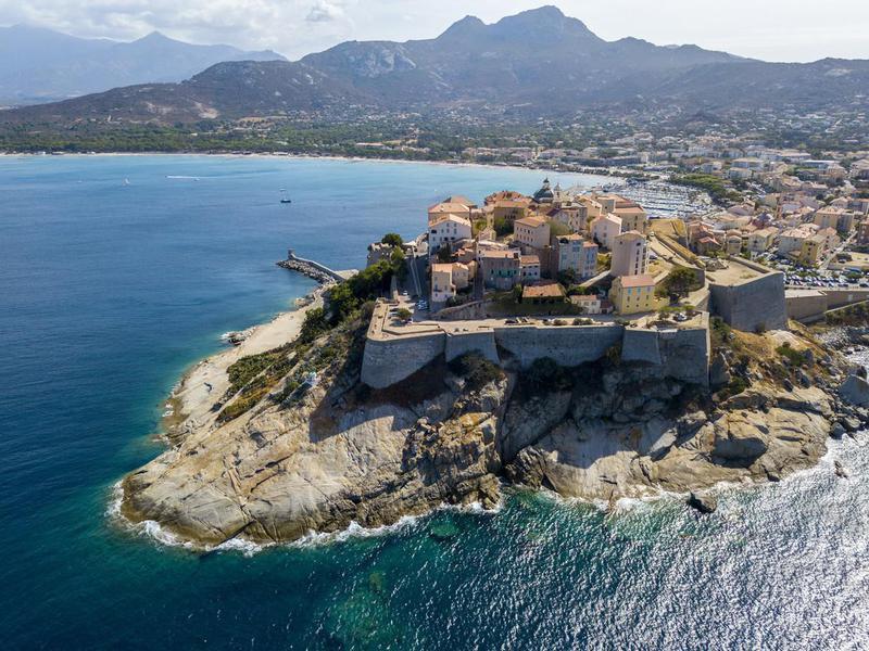 Aerial view of Calvi, Corsica, France