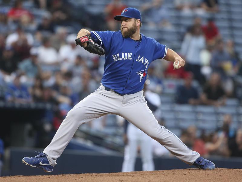 Toronto Blue Jays starting pitcher Mark Buehrle works in first inning