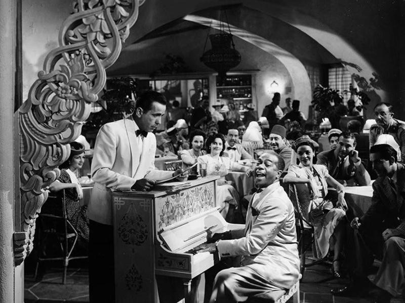 Humphrey Bogart and Dooley Wilson performing in Casablanca