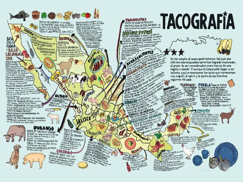Mexico taco map