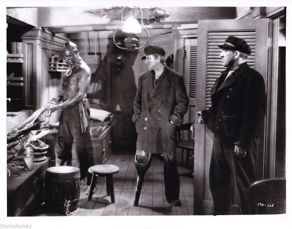 """John Barrymore, Noble Johnson and Walter Long in a production still for """"Moby Dick"""""""