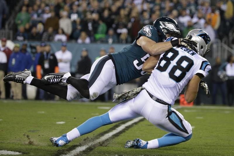 Casey Matthews tackles Carolina Panthers' Greg Olsen