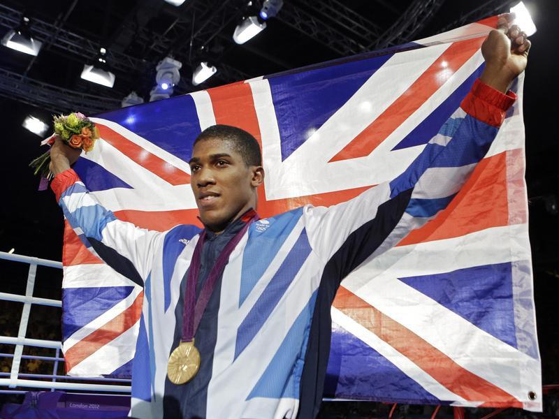 Britain's Anthony Joshua celebrates