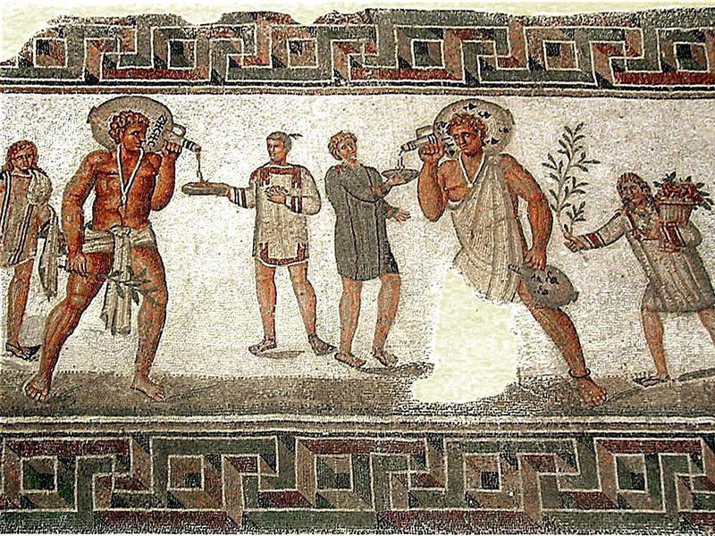Roman mosaic depicting slavery