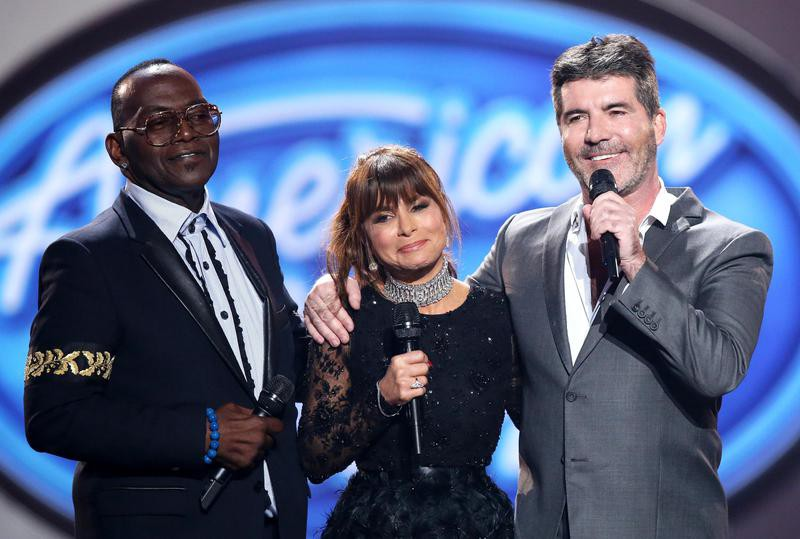 Simon Cowell with other judges at farewell season finale in Los Angeles