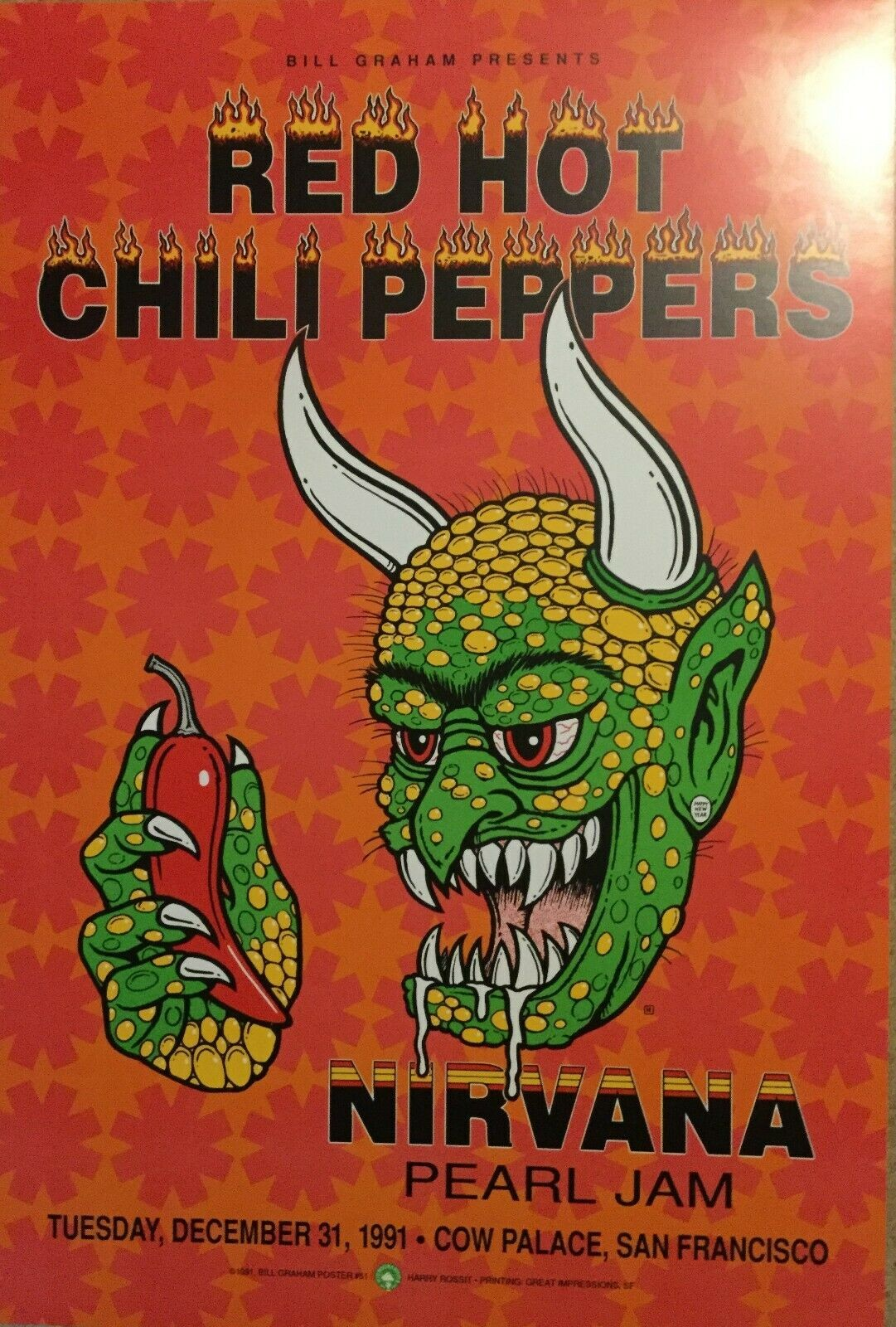 Bill Graham Red Hot Chili Peppers, Nirvana and Pearl Jam poster